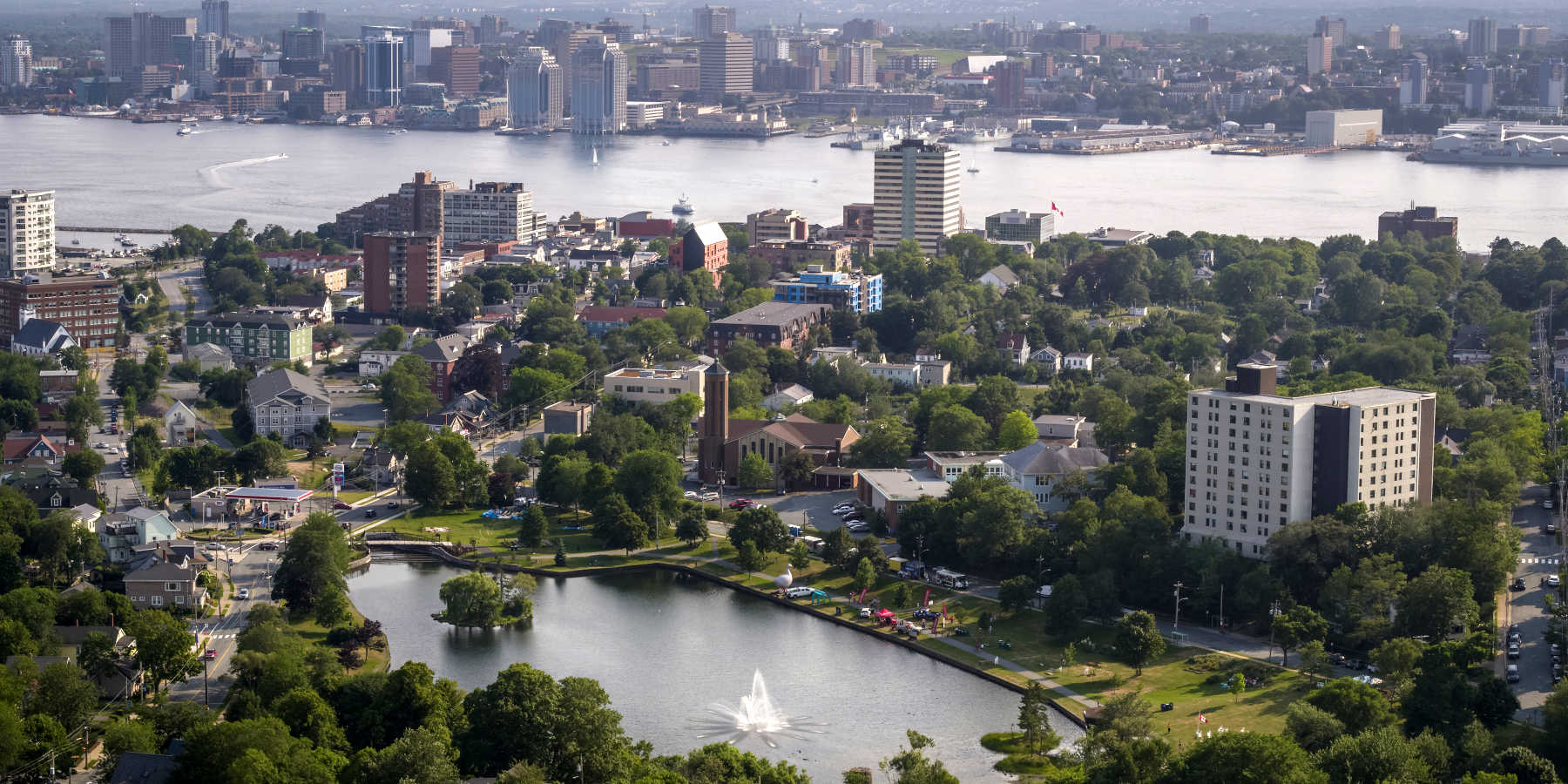 Beautiful Aerial Photo of Downtown Dartmouth, Halifax Waterfront, and Halifax Harbour
