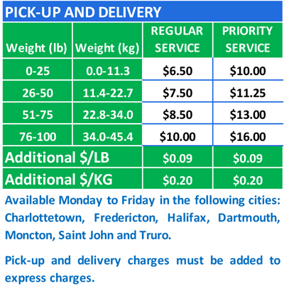 pick up and delivery rates